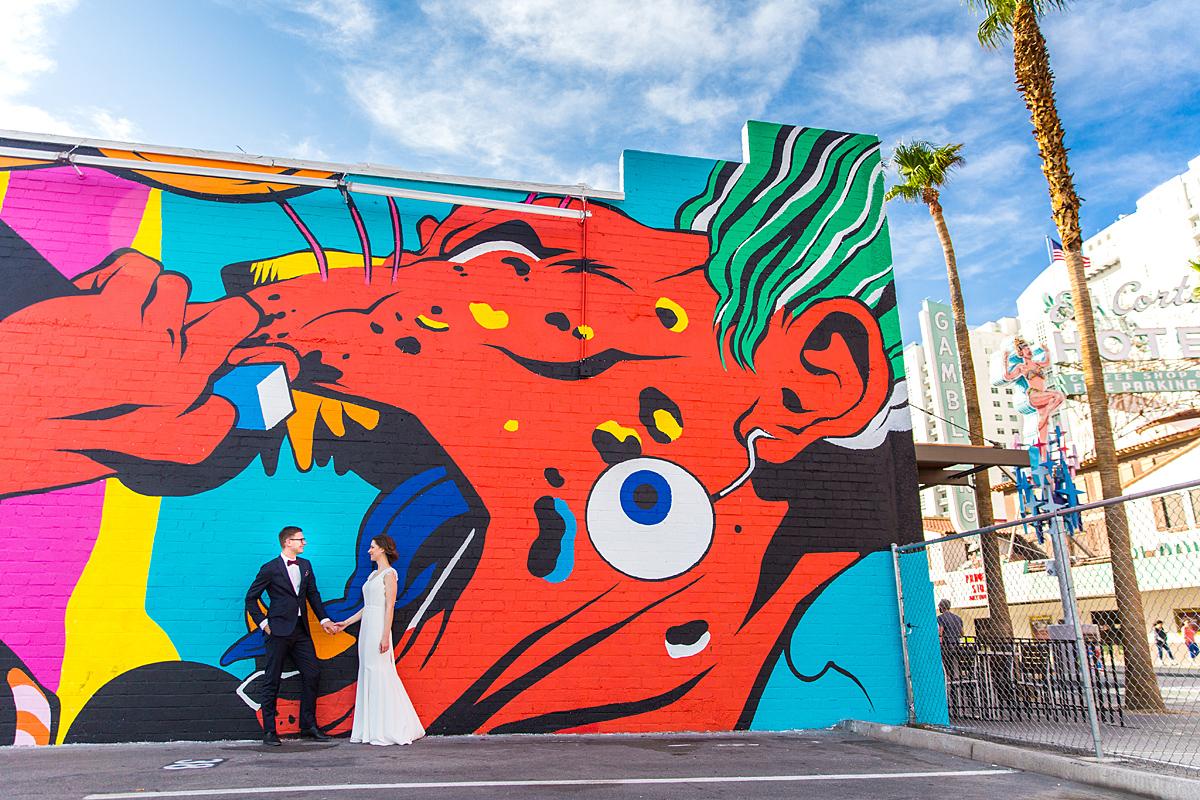 vestuvės Amerikoje, grafitti, siena, gatvės menas, vestuvių diena, Las Vegas, usa, jav