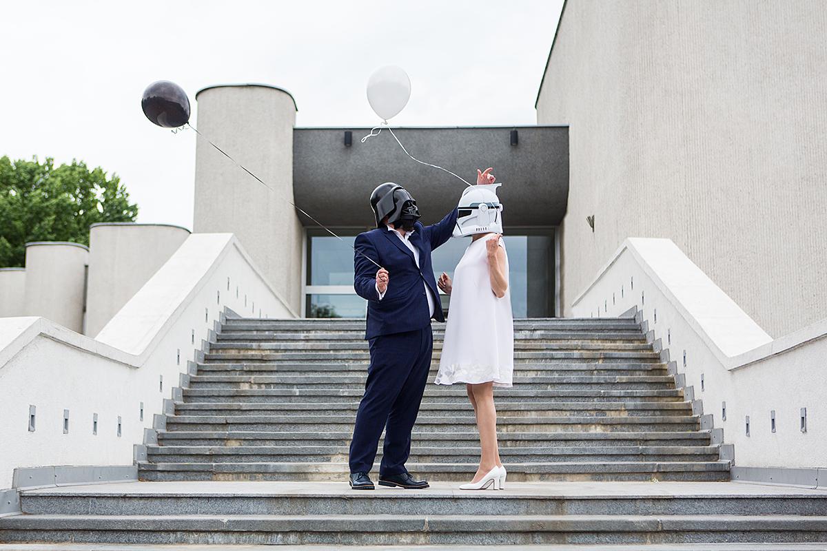 vestuvės star wars tema, darth wader, storm trooper, teminės vestuvės, santuokų rūmai, laiptai, kaukės, balionai