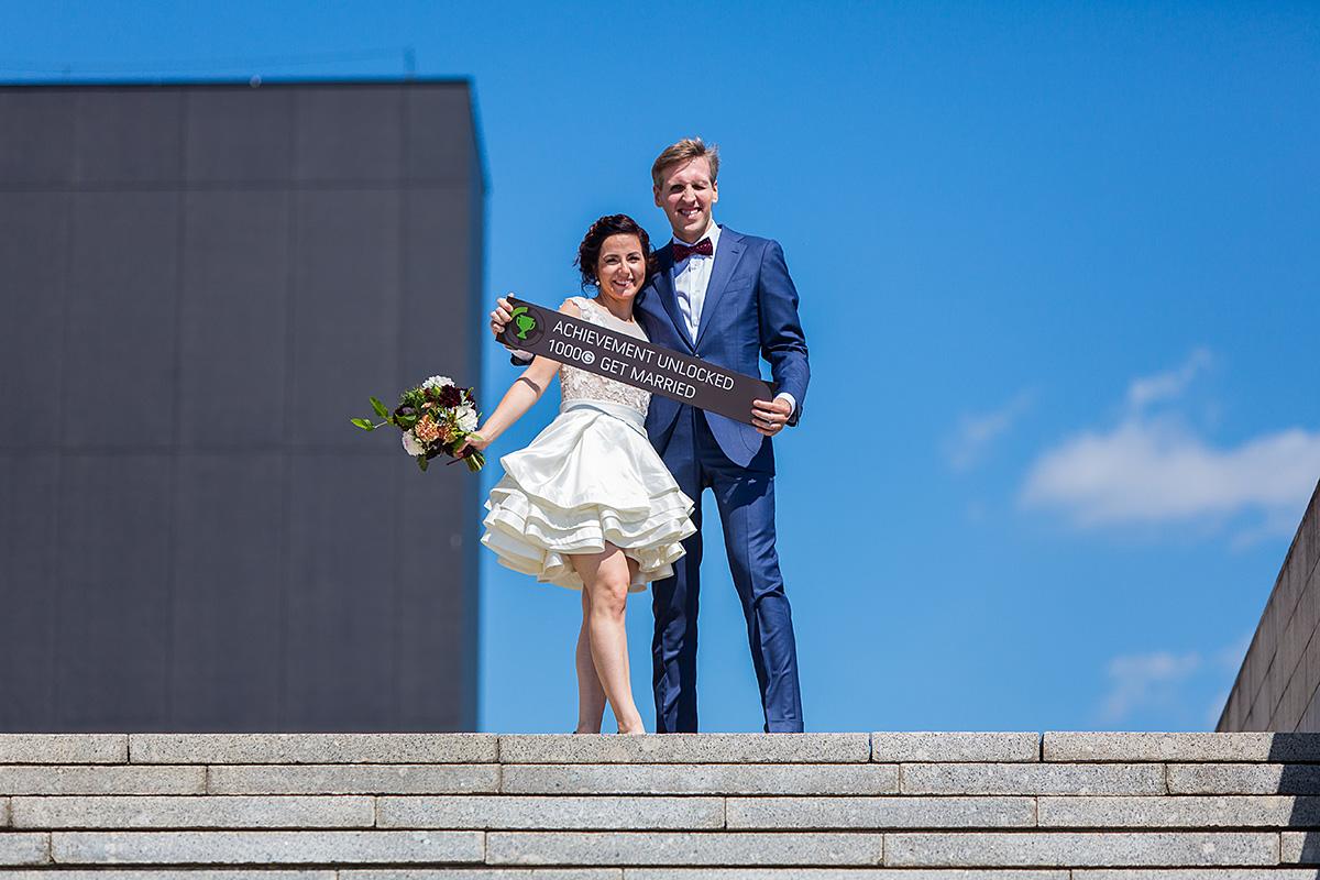 vestuvių nuotrauka, saulė, jaunieji, užrašas, ndg, laiptai, dangus