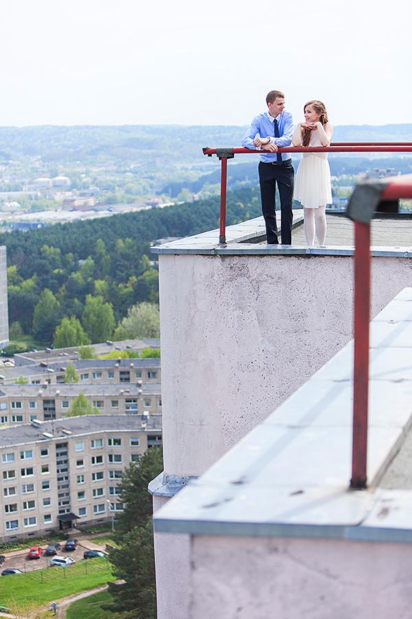 vestuvės ant stogo, lazdynai, vilnius, fotosesija ant stogo, aukštai, panorama